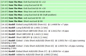 July 26, 2011 - Live online forex trading room session, currency training course, fibonacci grid